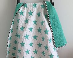 Modern Star Baby Quilt - Teal Stars with Teal Backing