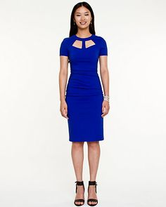 Bengaline Cut-out Fitted Dress #electricblue