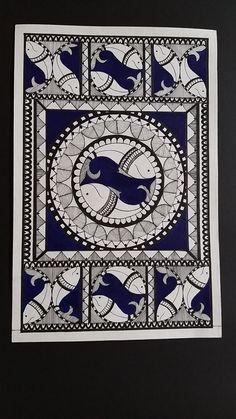 Madhubani Art, Madhubani Painting, Traditional Paintings, Traditional Art, Mandala Art Lesson, Indian Folk Art, Indian Art Paintings, Tribal Art, Mandala Design