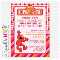 Printable Party Invitation-Girly Elmo Pink Orange and Red Street Sign Design. $15.00, via Etsy.