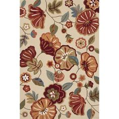 "Andover Mills Sefton Polyester Hand Tufted Ivory/Red Area Rug Rug Size: 7'6"" x 9'6"""