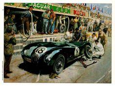 JAGUAR PIT STOP - LE MANS 1953 (4 Page Review) Vintage Sports Cars, British Sports Cars, Vintage Racing, Vintage Cars, Le Mans, Classic Motors, Classic Cars, Jaguar E Type, Car Drawings