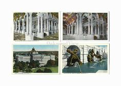 4 Library of Congress Vintage Postcards c1930s, Washington DC, Hall of Columns etc, Antique Unused Ephemera, Lot 1, FREE SHIPPING $9.75