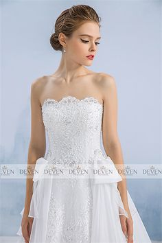 Strapless Beaded Lace Applique Organza Streamers Skirt Ball-Gown