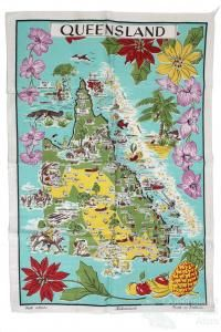 Tea-towel: Map of Queensland, Australian Continent, Towel Crafts, Knowledge Quotes, Largest Countries, Solomon Islands, Small Island, Papua New Guinea, Cartography, Tea Towels