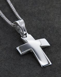Σταυρός λευκόχρυσος Κ14 Baby Boy Christening, Still I Rise, Cross Jewelry, Crosses, Arrow Necklace, Jewlery, Jewelry Design, Bling, Gabriel
