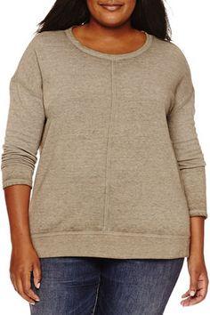 Shop Now - >  https://api.shopstyle.com/action/apiVisitRetailer?id=542779200&pid=uid6996-25233114-59 A.N.A a.n.a Long Sleeve Sweatshirt-Plus  ...