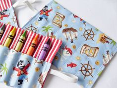 Pirate Party Favor Crayon Roll Pirates Holds by homemadebylittleme, £2.50