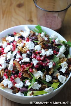 Pear, date, pomegranate, and goat cheese #salad with pomegranate Vinaigrette #recipe by @MartinelliEats