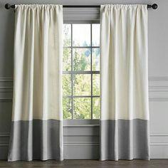 SET OF 2/ Designer two tone pure linen curtains/ each by zahrazart
