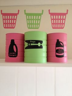 upcycled formula cans to laundry canisters cute