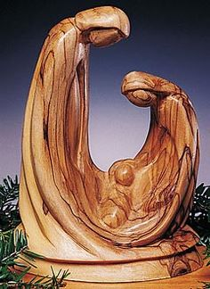 Holy Family Olivewood Sculpture