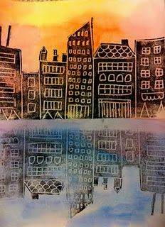 City reflected on the water. Warm watercolors above (sky), cool watercolors below (water). Draw with pencil cityscape into print foam. Roll brayer with speedball ink over foam. Press foam onto upper portion of watercolor paper. Then without reloading with ink, press foam onto lower portion of paper.