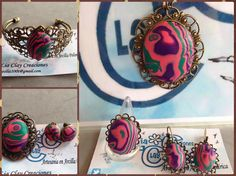 Conjunto Mokume Rosa. Colgante, anillo ajustable, pendientes, brazalete y broche.