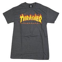 "Thrasher ""Flame Logo"" T-Shirt (Charcoal) (Medium)"