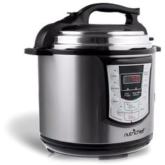 Pyle NutriChef PKPRC22 Digital Electronic Pressure Cooker + Slow... ($110) ❤ liked on Polyvore featuring home, kitchen & dining, small appliances, silver, electric crock pot, lid rack, pyle, steam rack and pressure cooker rack