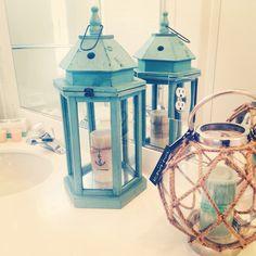 Nautical beachy bathroom decor lanterns