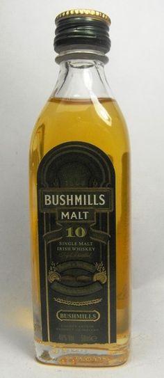 Bushmills Single Malt Irish Whiskey 10 year old.Triple Destilled. Matured in Two Woods The Old Bushmills'Distillery Co. Ltd., County Antrim, Ireland.