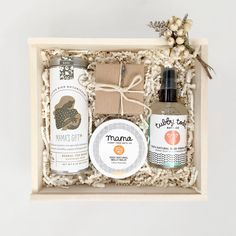 Pamper the expectant Mom before or after the arrival of her little one. Makes a perfect shower gift or just a sweet reminder for the Mama-To-Be to pamper herself. Mama's Gift Tea from Flying Bird Bota Diy Gifts, Gifts For Mom, Baby Box, Neutral, Foods To Avoid, Brown Paper, Gift Baskets, Baby Baskets, The Balm