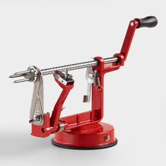 Red Enameled Cast Iron Apple Peeler, Slicer and Corer - Metal by World Market Cooking Gadgets, Cooking Utensils, Cooking Tools, Kitchen Utensils, Kitchen Knives, Kitchen Tools, Kitchen Gadgets, Kitchen Supplies, Kitchen Ideas