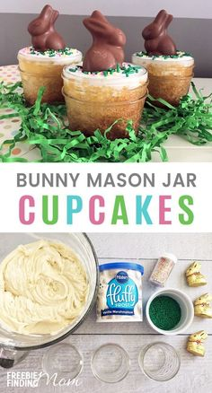 This Bunny Cupcake in a Mason Jar recipe is a fun and easy Easter cupcake idea. Start with a box white cake mix for the cupcakes then frost your desserts in a jar with vanilla frosting and top with pastel sprinkles and a mini chocolate bunny. These desser Mason Jar Cupcakes, Mason Jar Desserts, Mason Jars, Mason Jar Meals, Meals In A Jar, Mini Desserts, Cake In A Jar, Dessert In A Jar, Bunny Cupcakes