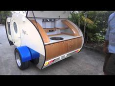 Gidget teardrop camper takes sliding approach to extra space Pod Camper, Tiny Camper, Small Campers, Small Trailer, Tiny Trailers, Camper Trailers, Gidget Retro Teardrop Camper, Teardrop Trailer, Motorcycle Camper Trailer