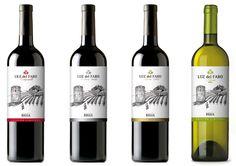 """Diseño de las etiquetas de vino Denominación de Origen Rioja """"Luz de Faro"""", para todas sus variedades (Tempranillo, Crianza, Reserva y Blanco).  Esperamos que os guste!  Pronto más información en: http://www.g2disseny.com/"""