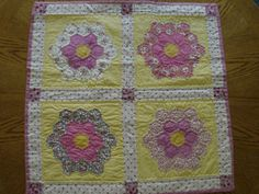 Pink and Yellow Grandmother's Flower Garden Quilt