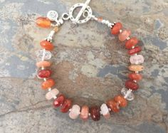 Copper Rutile Bracelet, Orange Gemstone Bracelet, Multi Toned Orange Bracelet, 7.25 inches