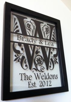 Personalized Family Name Floating Glass 8x10 Frame Black.