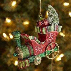Glitter Train with Tree Ornament | Pier 1 Imports