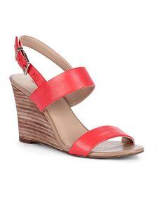 Loving this Hot Coral Gwyneth Leather Wedge Sandal on #zulily! #zulilyfinds