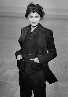 My girl Audrey Tautou looking smashing in a tailored suit and waistcoat.
