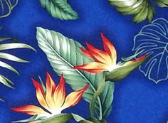 "Blue Hawaii Fabric, Tropical Flower Bird of Paradise Monstera Leaf, Green Leaf, Clothing Curtains Home Decor Fabric 45""Wide HC9579 by HawaiianFabricNBYond on Etsy"