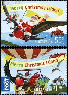 Aussie Christmas, Australian Christmas, Christmas In Australia, Christmas Cards, Merry Christmas, Postage Stamp Collection, Commemorative Stamps, Birthday Bag, Christmas Island