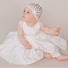 Princess style baby dress, made of high quality silk/cotton blend . Very lightweight and soft. All the embellishments are made by hand. The skirt is full, has 2 layers of ruffles. The dress is fully lined. Closed with invisible zip at the back. The color is Ivory. Please, send me