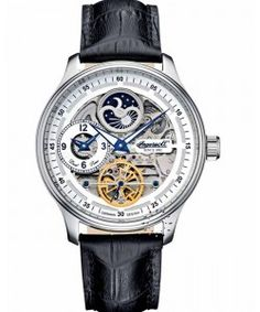 """Ingersoll Men's """"Boonville"""" Stainless Steel Watch with Black Leather Band Automatic Skeleton Watch, Automatic Watch, Diamond Watches For Men, Luxury Watches For Men, Ingersoll Watches, Swatch, Unique Clocks, Mens Watches Leather, Am Pm"""