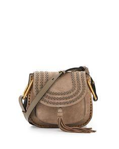 CHLOÉ Hudson Small Suede Shoulder Bag, Light Gray. #chloé #bags #shoulder bags #suede #