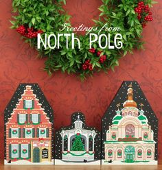 Build yourself a North Pole village for the holiday season. Over 28 handcrafted wooden shelf sitters to choose from. Check out our whimsical North Pole Village.