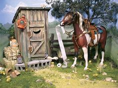 breyer horse dioramas - Bing Images: too cute! Barrel Racing Saddles, Barrel Racing Horses, Horse Saddles, Horse Halters, Bryer Horses, Clydesdale Horses, Horse Show Clothes, Horse Crafts, Horse Sculpture