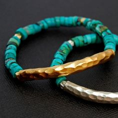 boho turquoise bangles.