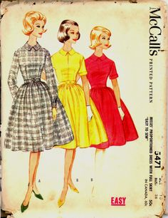1960s Size 16 Bust 36 Easy Proportioned Dress Full Skirt