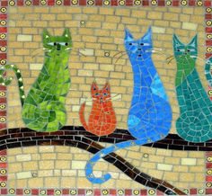 Gallery of stained glass mosaic cats by Santa Barbara, CA artist Christine Brallier. Mosaic Crafts, Mosaic Projects, Mosaic Art, Mosaic Glass, Mosaic Tiles, Glass Art, Stained Glass, Mosaic Designs, Mosaic Patterns