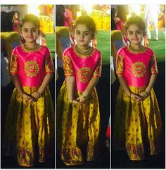 Client diaries 😍 the beautiful lil Ridhima in the elephant embroidary pattu ghagra Kids Party Wear Dresses, Kids Dress Wear, Dresses Kids Girl, Kids Outfits, Kids Wear, Kids Gown, Baby Dresses, Baby Outfits, Kids Lehanga Design