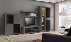 Salones  PANTER. La luz da un brillo especial al negro y ceniza de este mueble. Consúltalo en www.mymobel.com