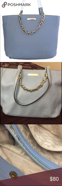 Michael Kors Tote Color : Powder Blue Size : Large Product dimensions : 10x12x6 inches  Leather with matching trim and golden hardware *Over the shoulder with open top and center divider *Inner zippered pocket and four open slip pockets *Dual leather straps with a drop of about 9 *Measures approx. 11.5 (L, bottom), 16 (L, top) x 10 (H) x 6 (W) Michael Kors Bags Totes
