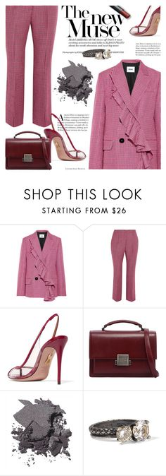 """Business suit"" by cilita-d ❤ liked on Polyvore featuring MSGM, Aquazzura, Yves Saint Laurent, Bobbi Brown Cosmetics and Bottega Veneta"