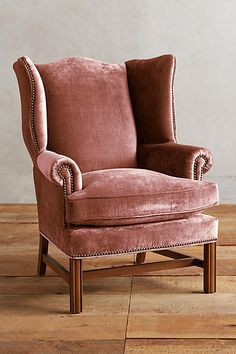 Velvet Wingback Chair, Velvet Furniture, Couch Furniture, Furniture Making, Furniture Decor, Furniture Design, Velvet Chairs, Colorful Chairs, Colorful Furniture