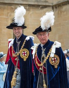 Prince William and Prince Charles arrive to attend the Most Noble Order of the Garter Ceremony at Windsor Castle on June 16th.