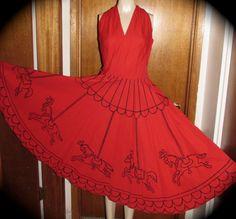 VTG 50s Full Circle skirt Carousel Dress novelty halter bombshell Painted RED #50sFashion